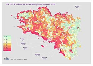 Carte des résidences secondaires en Bretagne. Beaucoup de communes côtières ont un taux de résidence secondaire très élevé. A cette échelle, le secteur résidentiel ne stimule plus l'activité mais étouffe l'économie et la vie locale.