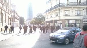 Rassemblement à Nantes, forte présence policière